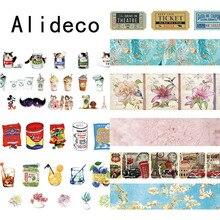 Alideco 1 шт. клейкая лента из рисовой бумаги ретро кофе цветок декоративный Клей Скрапбукинг DIY бумаги японские наклейки 1,5 см* 10 м