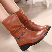 New Arrivals Autumn/Winter women genuine leather boots size(34-40) women Ankle Boots Fashion wedges shoes Slip-on Martin shoes