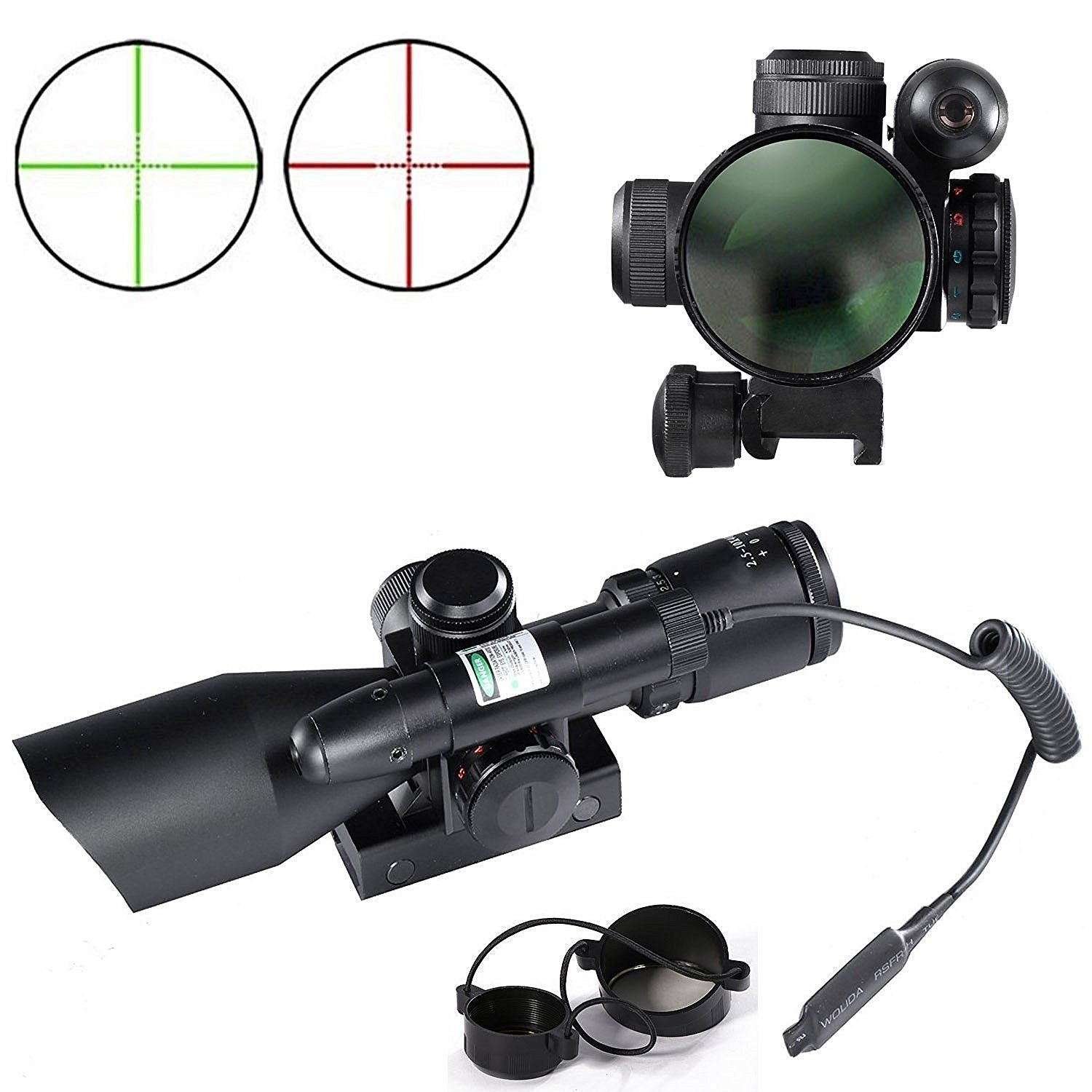 Tactical Optics Hunting Rifle Scope Red & Green Dual illuminated Mil-dot w/ Rail Mount Riflescope a woman kneeling in the big city
