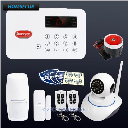 HOMSECUR Wireless Telephone Line Burglar Alarm System+Wireless IP Camera With Touch Panel homsecur wireless