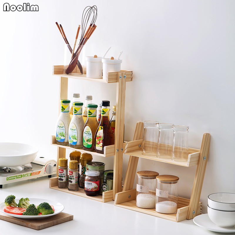 noolim wood multi layer spice rack kitchen multi function countertop rh aliexpress com spice rack for kitchen wall spice rack for kitchen cabinet door