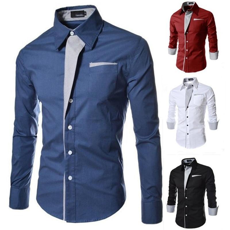 Luxury Men Silk Long Sleeve Shirt Button Up Business Work Smart Formal Dress Top