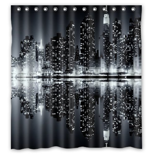 Shower Curtain New York Skyline Black And White Printing Waterproof Mildewproof Polyester Fabric Bath Set In Curtains From Home Garden On