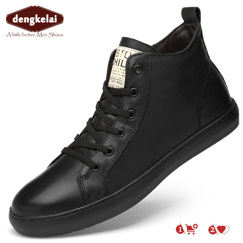 DENGKELAI Genuine Leather Sneaker Boots for Men Chunky Shoes High Top Footwear Luxury Brand Leather Shoe Sneakers 2019DENGKELAI Genuine Leather Sneaker Boots for Men Chunky Shoes High Top Footwear Luxury Brand Leather Shoe Sneakers 2019