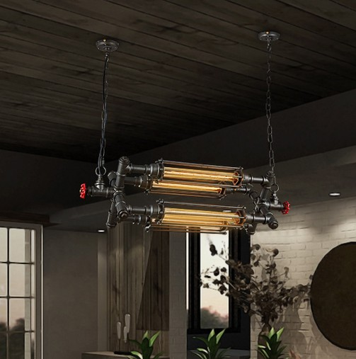 Loft Style Iron Water Pipe Lamps Edison Pendant Light Fixtures Vintage Industrial Lighting For Dining Room Bar Hanging Lamp loft style metal water pipe lamp retro edison pendant light fixtures vintage industrial lighting dining room hanging lamp