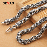 7MM Handmade twisted rope Chain 100% Thai Silver Chain Necklace S925 Sterling Heavy Silver Necklace Men Gothic Jewelry Wholesale