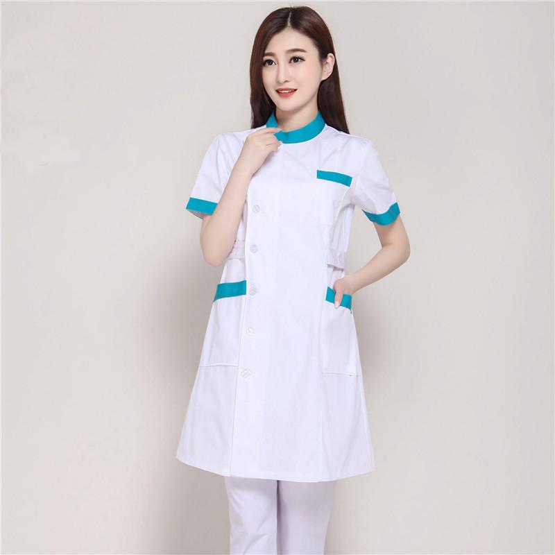 87c1e9e7e1 Nuevo verano manga corta Mujer blanco laboratorio abrigo ropa médica  médicos uniformes Hospital tela belleza salón farmacia ropa de trabajo