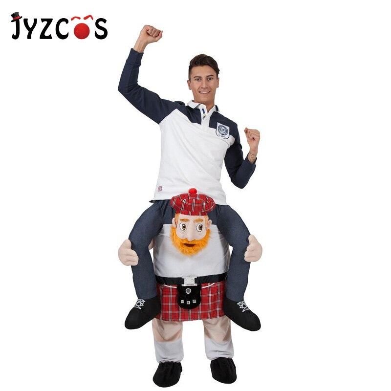 JYZCOS Adulte Tour Sur Écossais Costume Robe Tour sur Moi Cosplay Costume Transporter Dos Nouveauté Jouets Fantaisie Pantalon pour Pourim halloween