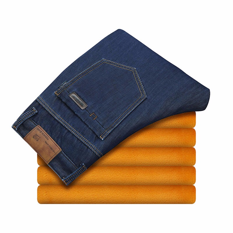 2016 Winter Mens Velvet Thick Warm Elastic Jeans For Male Straight Fleece Lined Denim Pants Men