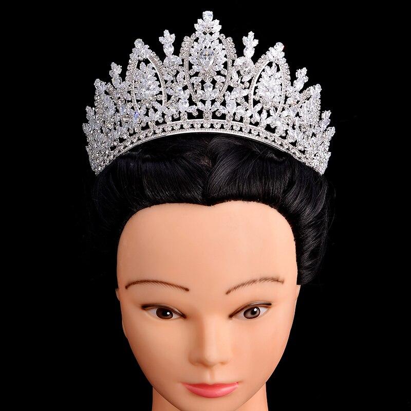 Takı ve Aksesuarları'ten Saç Takısı'de Prenses Taç HADIYANA Klasik Tasarım Zarif Düğün Gelin Saç Takı Tiaras Ve Taçlar Kadınlar Zirkon BC5069 Corona Princesa'da  Grup 1