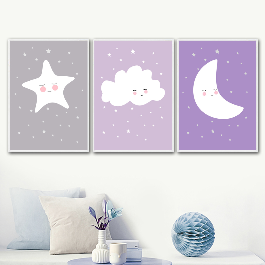 ATTRAYANT Nube Estrella Luna nórdica Carteles e impresiones Pintura - Decoración del hogar