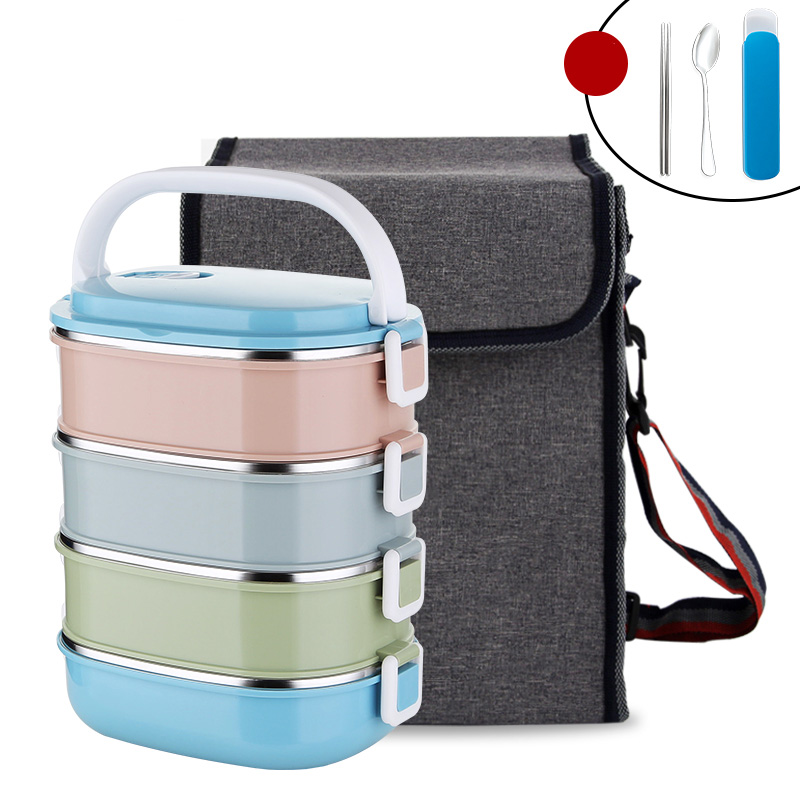Japanese Food Container Square Plastic With Bag Dinnerware Set 304 Stainless Steel Thermal Bento Lunch Box Portable School Kids