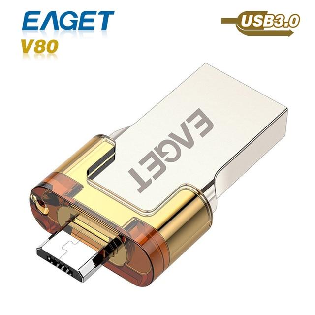 usb flash drive 3.0 Eaget v80 OTG pass h2test Smart Phone Tablet PC 16GB 32GB 64GB usb 3.0 pen driveExternal Storage pendrive