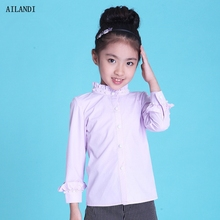 ALANDI Autumn Bead Long Sleeve Princess Shirts Stand Collar Solid Korea Children Clothes Slim Cotton White Girls Blouse