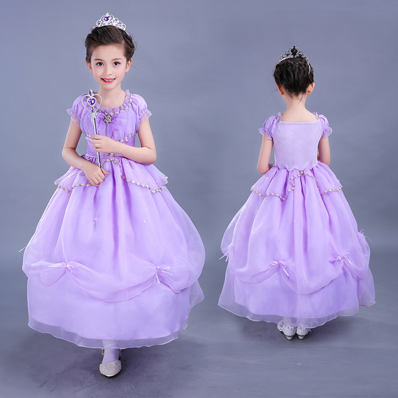2017 Summer New Cartoon Sofia Princess Sleeveless Purple Layer Fluffy Dress for Childern's Day Party Performance Robe Fille sofia princess kids dress lovely purple