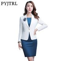 PYJTRL Elegant OL Fashion White Blue Satin Silk Temperament Business Formal Dress Suits Women Work Clothes