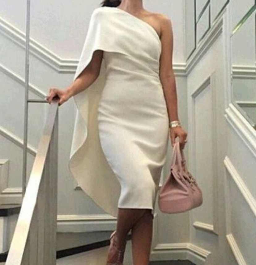 Elegant Beige/White One Shoulder Satin   Cocktail     Dresses   Tea Length Party   Dresses   Prom Gowns robe de soriee Customed