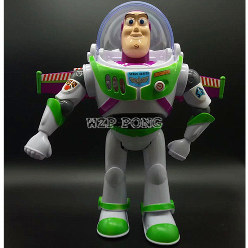 Toy Story 5 Anime Buzz Lightyear Figure Toys Lights Voices Speak English Joint Movable with Wings Action Figures Children Gift anime figure toy story 3 buzz lightyear and woody doll led alarm clock color touch light movie figurines toys for boys gift