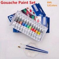 6 мл 12 Рисование гуашью Краски Набор Профессиональный Студент краска для рисования для товары для рукоделия предложение 2 щетки и 1 палитра д...
