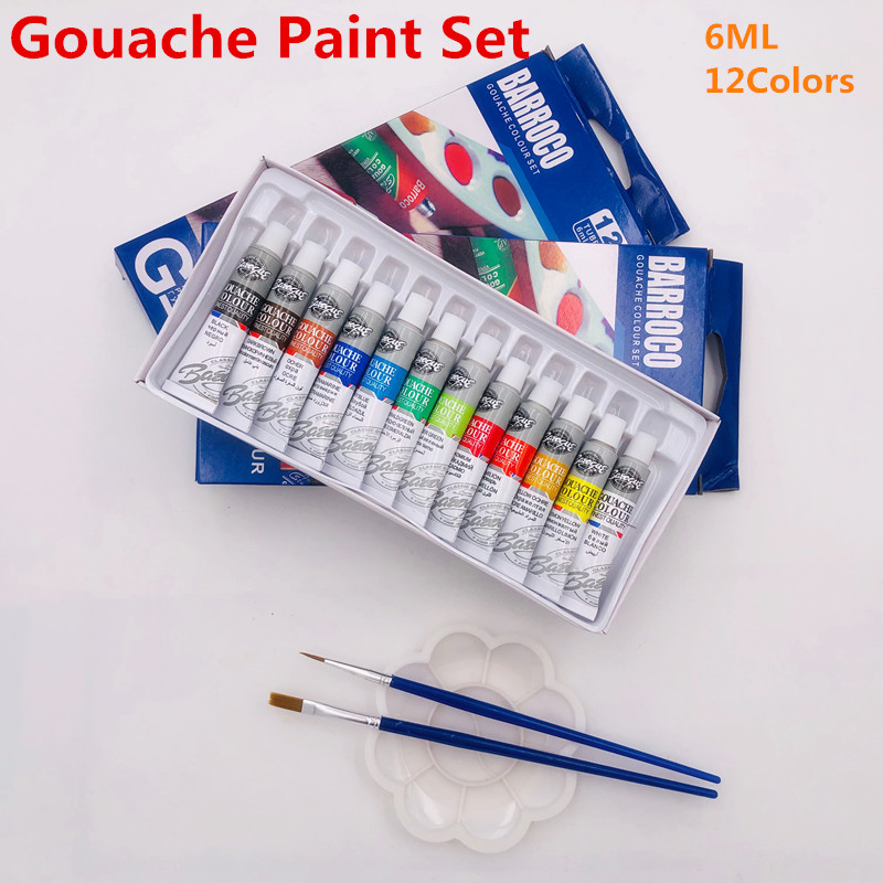 6 ML 12 Gouache Painting Paint Set Professional Student Drawing Pigment for Art Supplies Offer 2 Brush And 1 Palette For Free image
