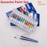 6 ML 12 Gouache peinture ensemble professionnel étudiant dessin Pigment pour Art fournitures offre 2 brosse et 1 Palette gratuitement
