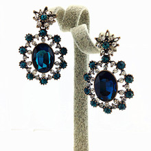 2015 New Arrival  Luxurious Blue Crystal Fashion Earrings Hollow Out Created Rhinestone Limitation Jewelry Statement Earrings