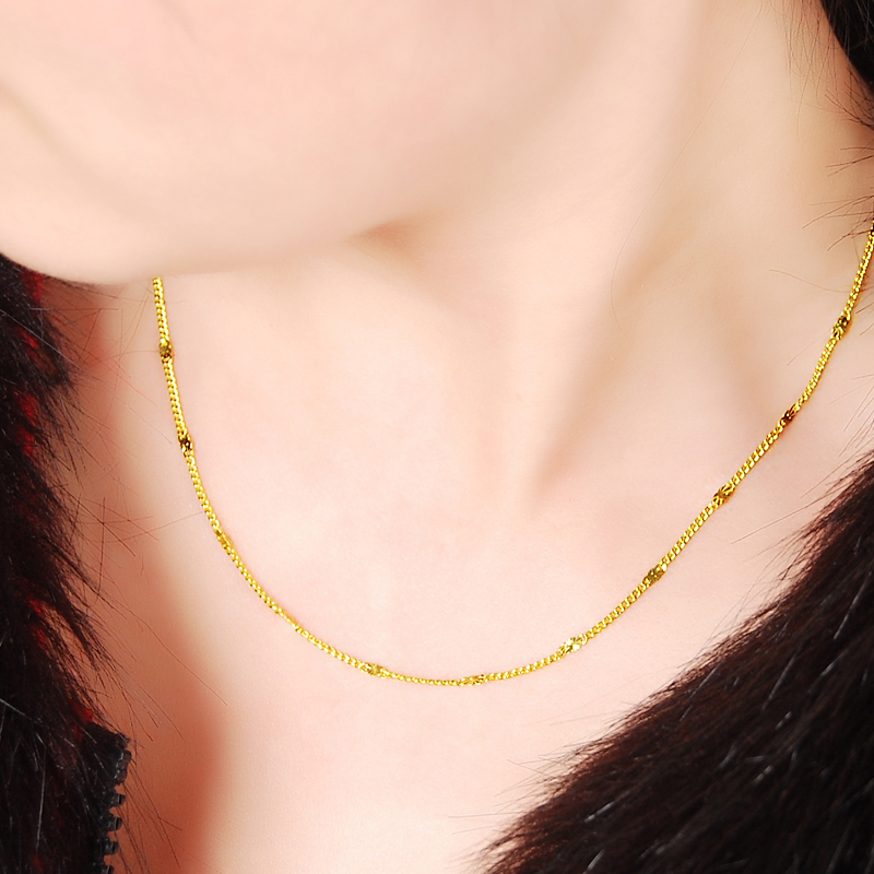 2MM 24K Yellow Gold Color Chains Necklaces Wholesale Price Yellow Fashion Luxury Necklaces