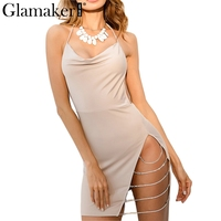 Glamaker Halter Sexy Christmas Dress Women High Split Night Party Dress Backless Autumn Winter Fashion Dresses