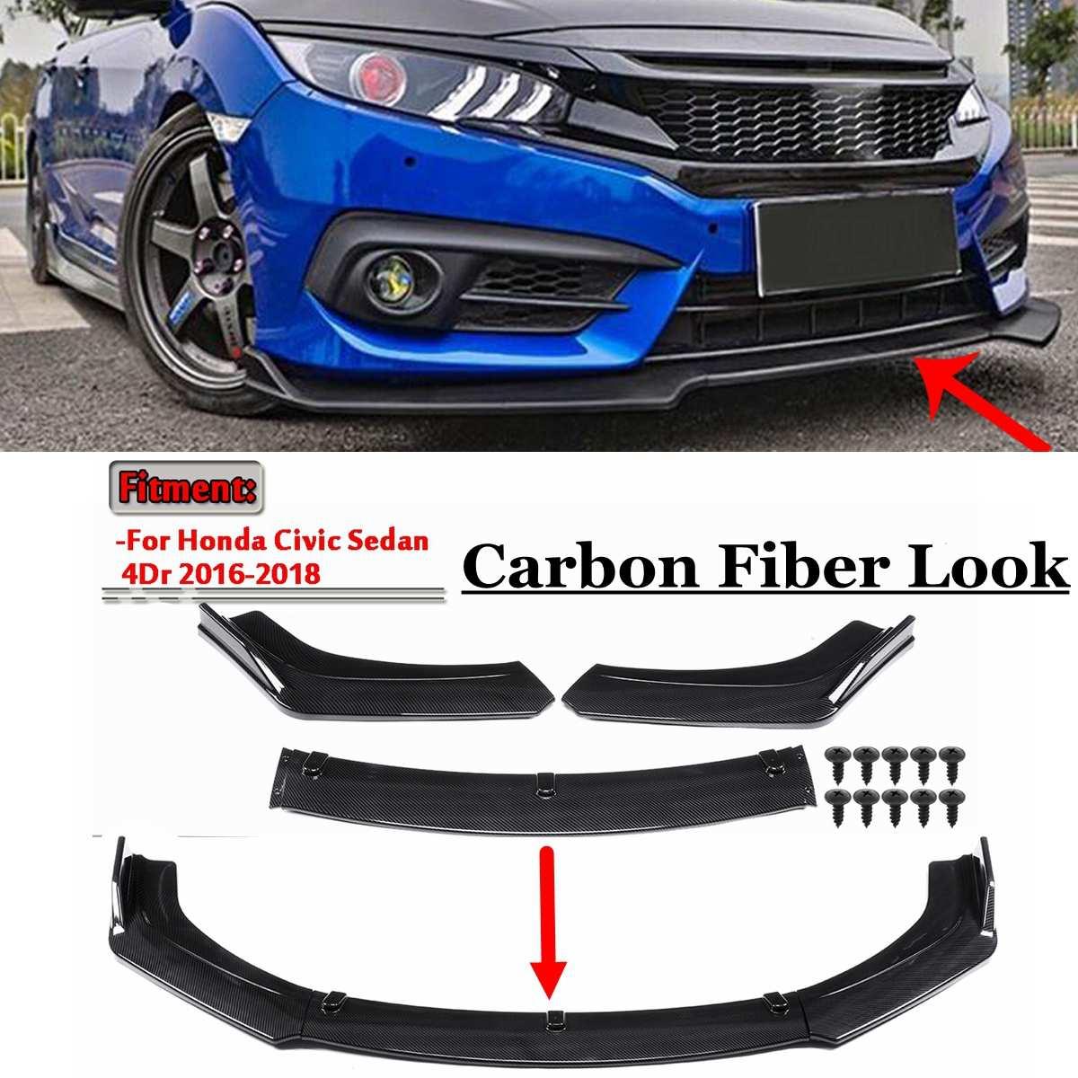 Carbon Fiber Pattern Front Bumper Spoiler Lip Splitter Body Kit Set Fit for 2016-2018 Honda Civic Sedan 4DR
