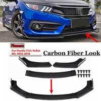 Carbon Fiber Look/Black 3pcs Car Front Lower Bumper Lip Diffuser Spoiler Body Kit For Honda For Civic Sedan 4Dr 2016 2017 2018