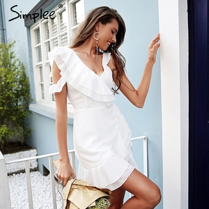 Image 2 - Simplee Ruche koude schouder witte jurk vrouwen Hoge taille wrap chiffon jurk vestidos Streetwear riem casual summer dress 2018