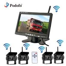 Podofo Беспроводной 4 резервного копирования Камера s Системы с 7 дюймов заднего монитор для RV/коробка грузовик с прицепом/трактор/полуприцеп Камера