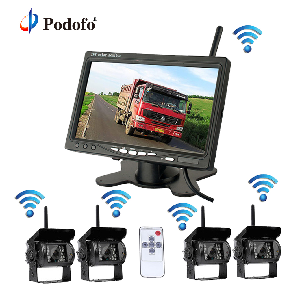 Podofo système de caméras de sauvegarde sans fil 4 avec moniteur de vue arrière de voiture de 7 pouces pour vr/camion boîte/remorque/tracteur/caméra Semi-remorque