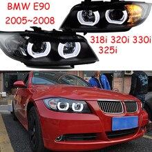 2 adet araba Styling için E90 far 2005 ~ 2008 yıl, 318i 320i 330i 325i kafa lambası otomatik LED DRL hi/lo ışın HID Xenon bi xenon mercek