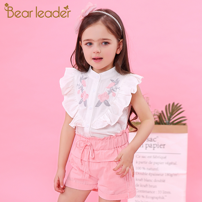 Bear Leader Girls Sets 2018 New Children Clothing Sleeveless Shirt +White Pants 2Pcs for Baby Girls Clothes Fashion Girls Suits bear leader girls skirt sets 2018 new autumn