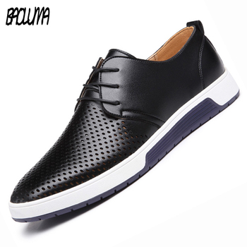 Mens Summer Brand Casual Men Shoes Flats Luxury Genuine Leather Shoes Man Dress Breathing Holes Oxford Big Size Leisure Shoes