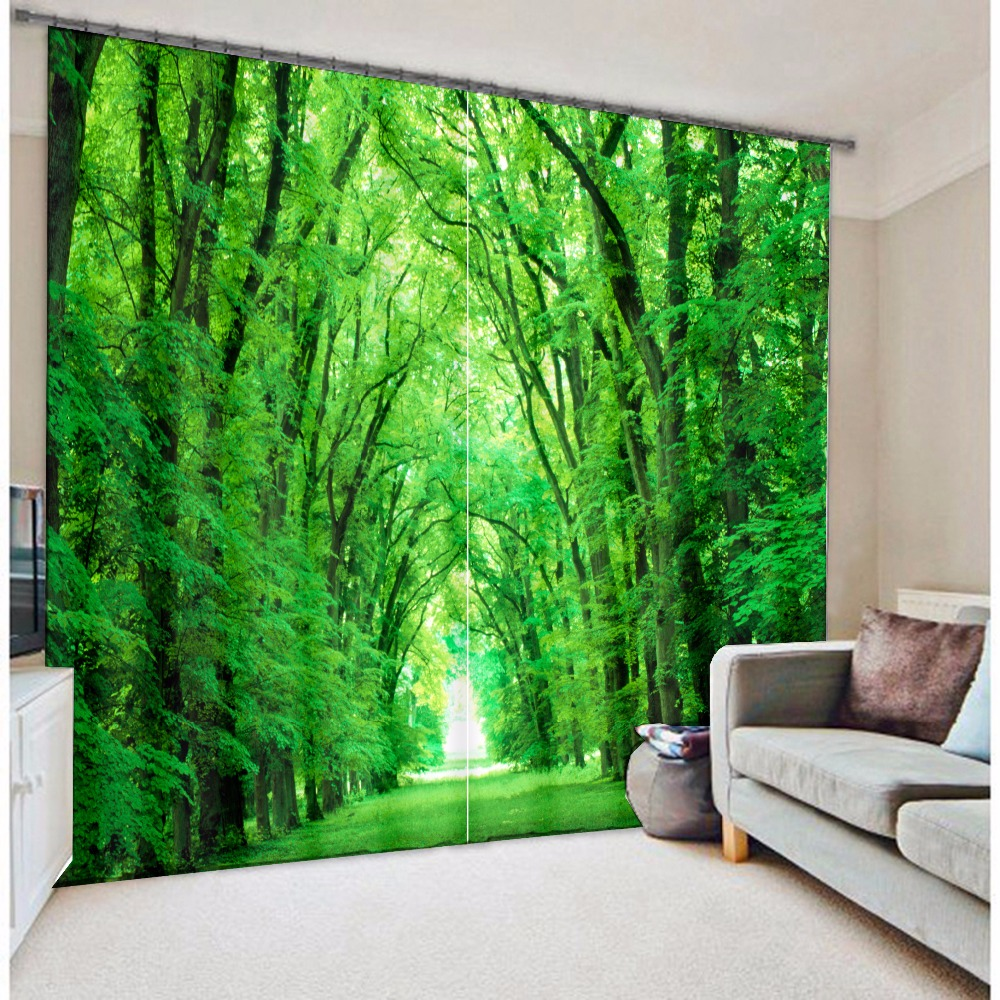 Modern Fashion Green Forest Tree Printing 3d Blackout