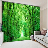 Modern Fashion Green Forest Tree Printing 3D Blackout Curtains For Bedding Room Living Room Hotel Drapes