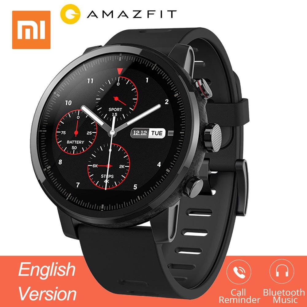 Montre intelligente Xiao mi Hua mi Amazfit Stratos 2 montre intelligente sport Version anglaise avec GPS PPG fréquence cardiaque GPS 5ATM étanche