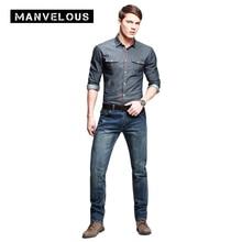 Manvelous Not Jeans Herren Gerade 2017 Frühling Ganzkörperansicht Herren Denim Hosen 100% Baumwolle Lose Zerrissenen Jeans Für Männer Kleidung