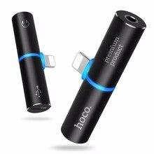 Фотография HOCO for Lightning to 3.5mm Jack 2 in 1 Charging Audio Adapter Earphone Headphone Audio Converter for Apple iPhone 7 / 7 Plus