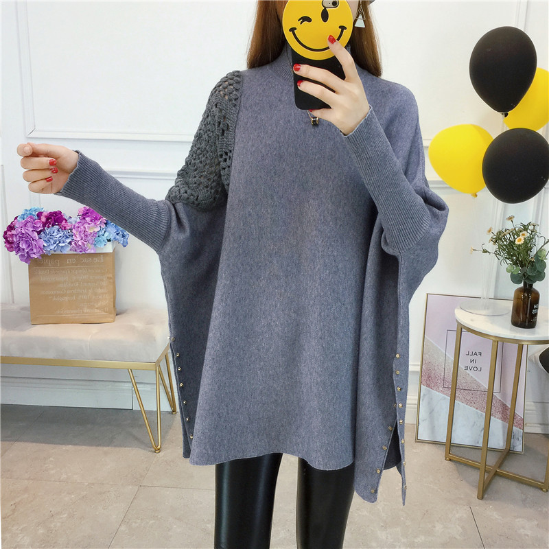 Women Pullover High Collar Sweater Winter Embroidery Fashion Sweaters 2018 New Autumn Female Loose Bat Sleeve Knit Sweater XY723