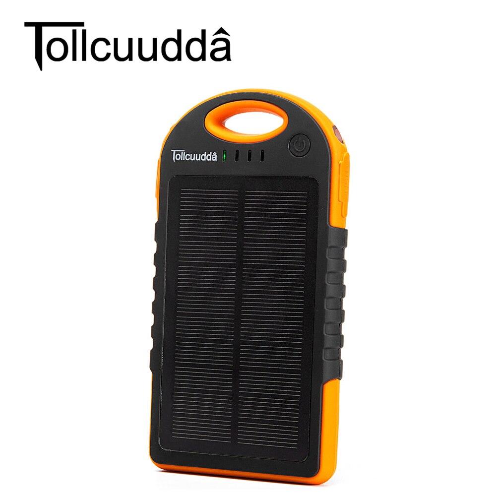 imágenes para Tollcuudda solar banco de la energía 12000 mah dual usb de carga del cargador de batería externa banco portable móvil de la energía con la linterna