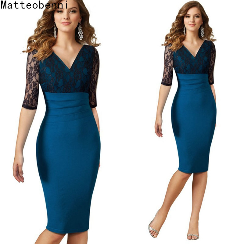 Vintage Elegant Bodycon Vestidos Women Sexy Lace Pencil Half Sleeve Ladies Slim Sheath Work Office Casual Party Dresses Suit
