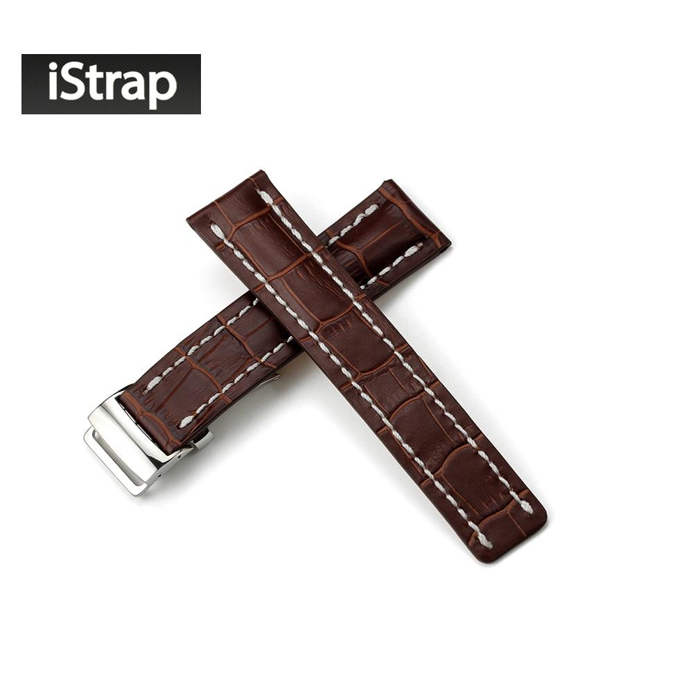 22mm 24mm Watch Band Watch strap Croco Grain Genuine Leather Bracelet Watchband For Breitling Deployment Clasp