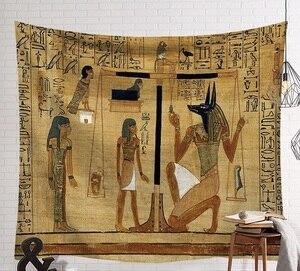 Image 3 - Cammitever 빈티지 이집트 시간 벽 교수형 사람들 침대 시트 장식 태피스 트리 미스터리 아트 비치 매트 130x150cm 150x200cm