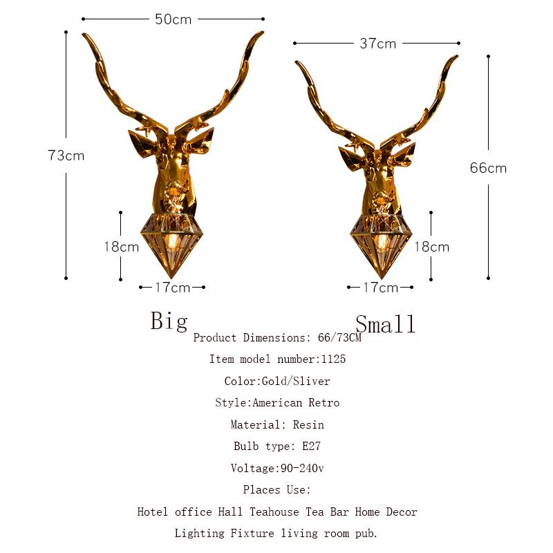 American Wall Lamps Retro Deer Bathroom loft Antlers Wall Light Living Room Bedroom Deco Art Sconce Bedside Wall Lights for Home in LED Indoor Wall Lamps from Lights Lighting