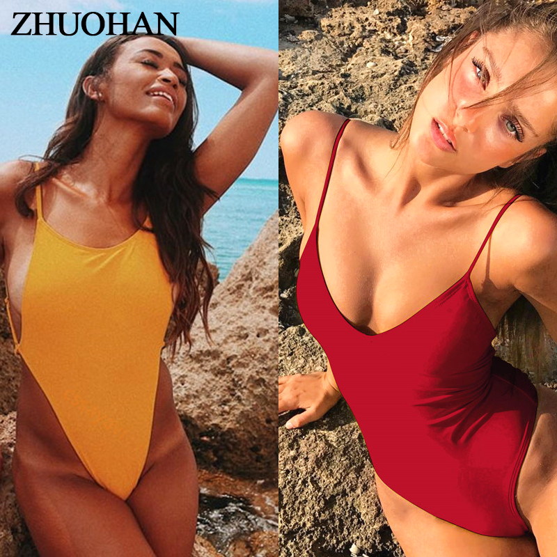 164921fec7a Sexy Swimwear Backless Solid One-Piece Set 2019 New Suits Bandage Biquini  Women Swimsuit Bikini