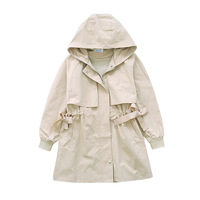 Children Autumn Spring Kids Girl Long Trench Coat Cotton Embroidery Hooded Girls Brands Khaki Trench Coats