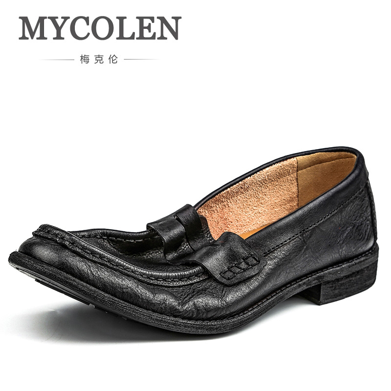 MYCOLEN 2018 New Handmade Mens Shoes Casual Luxury Brand Loafers Shoes Men Italian Moccasins Zapatos Hombre Casual Cuero